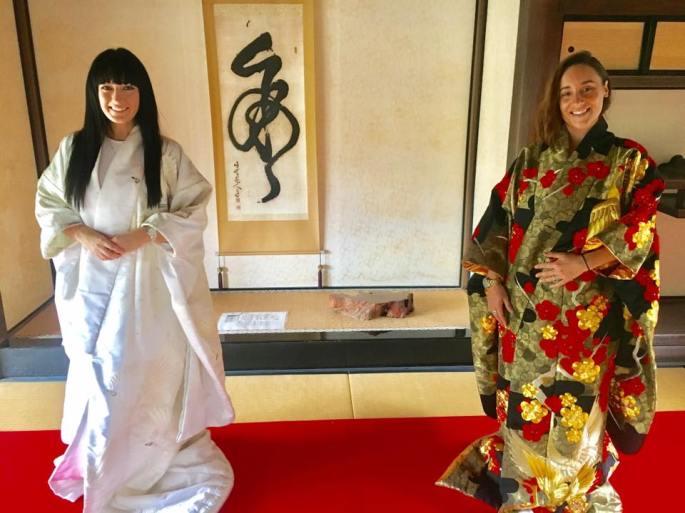 Try on kimono below Kakegawa Castle