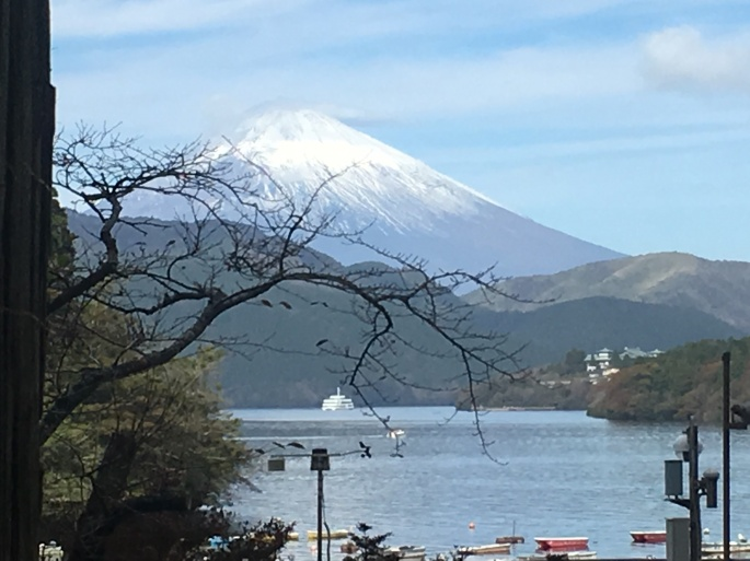 Fuji and Lake Ashinoko from Cedar Avenue