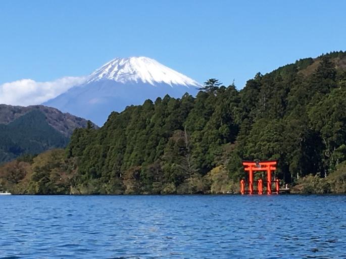 Hakone Shrine, Fuji lurking